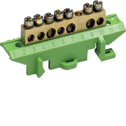 KM07E Brass terminal,  4x10mm² 3x16mm², with mounting base,   Color: green