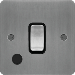 WFDP84FOBSB 20A Double Pole Switch with Flex Outlet Brushed Steel Black Insert