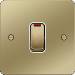 WFDP84NPBW 20A Double Pole Switch with LED Indicator Polished Brass White Insert