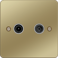 WFDXPBW TV & FM/DAB Outlet Polished Brass White Insert