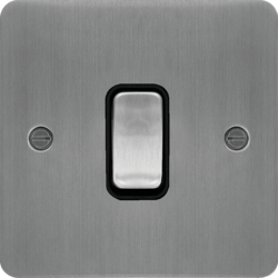 WFPS12BSB 10AX 1 Gang 2 Way Wall Switch Brushed Steel Black Insert