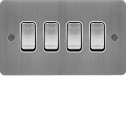 WFPS42BSW 10AX 4 Gang 2 Way Wall Switch Brushed Steel White Insert