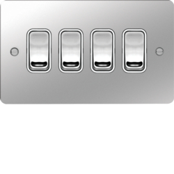 WFPS42PSW 10AX 4 Gang 2 Way Wall Switch Polished Steel White Insert