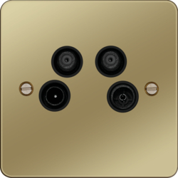 WFQXPBB Quadplexer TV,  FM/DAB,  Satellite 1 & Satellite 2 Outlet Polished Brass Black Ins