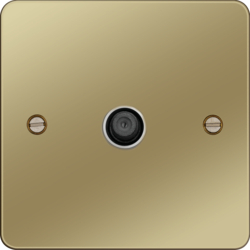 WFSATPBW F Type Satellite Outlet Polished Brass White Insert