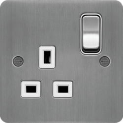 WFSS81BSW 13A 1 Gang Double Pole Switched Socket Brushed Steel White Insert