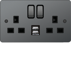 WFSS82BNB-USBS 13A 2 Gang Double Pole Switched Socket c/w Twin USB Ports Black Nickel Black