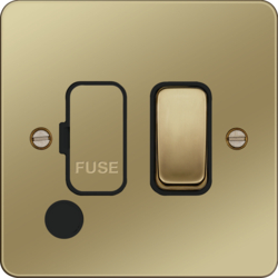 WFSSU83FOPBB 13A  FCU Switched with Flex Outlet Polished Brass Black Insert