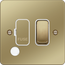 WFSSU83FOPBW 13A  FCU Switched with Flex Outlet Polished Brass White Insert