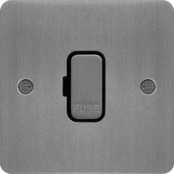 WFSU83BSB 13A FCU Unswitched Brushed Steel Black Insert