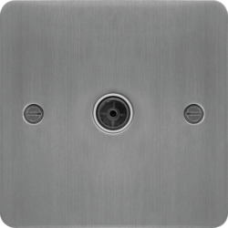 WFTVFBSW Single Co-ax TV Outlet Female Brushed Steel White Insert