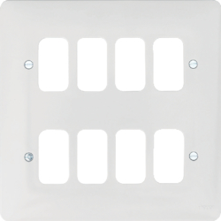 WMGP8 8 Gang White Moulded Grid Plate