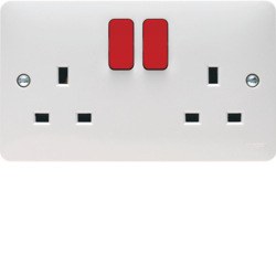 WMSS82R 2 Gang Double Pole Switched Socket Dual Earth Red Rockers