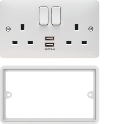 WMSS82USBS 2 Gang Double Pole Switched Socket Complete With Twin USB Ports and Spacer