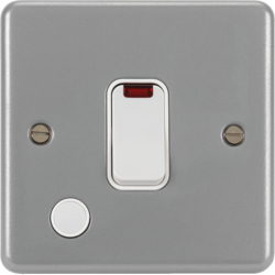 WPDP84FONBW 20A Double Pole Switch with LED Indicator and FO & Back Box w/out KOs White