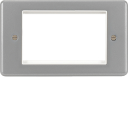 WPP4EUBW 4 Module Euro Style Accomodation Plate & Back Box without Knockouts White