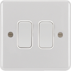 WPPS22W 10AX 2 Gang  2 Way Wall Switch White