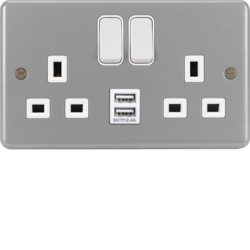 WPSS82-USB 13A 2 Gang Double Pole Switched Socket c/w Twin USB Ports