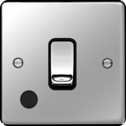 WRDP84FOPSB 20A Double Pole Switch with Flex Outlet Polished Steel Black Insert