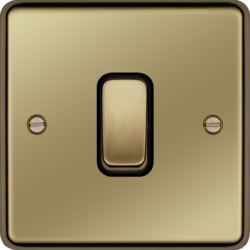 WRDP84PBB 20A Double Pole Switch Polished Brass Black Insert