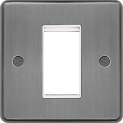 WRP1EUBSW Euro Style Plate 1 Module  Brushed Steel White Insert