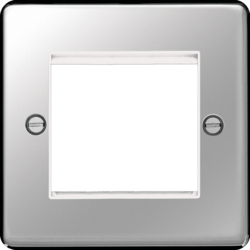 WRP2EUPSW Euro Style Plate 2 Module Polished Steel White Insert