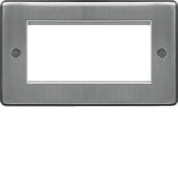 WRP4EUBSW Euro Style Plate 4 Module  Brushed Steel White Insert