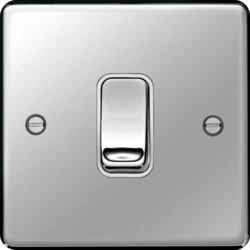 WRPS12PSW 10AX 1 Gang 2 Way Wall Switch Polished Steel White Insert