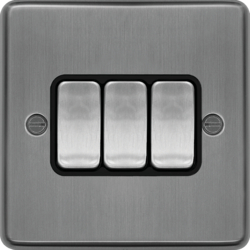 WRPS32BSB 10AX 3 Gang 2 Way Wall Switch Brushed Steel Black Insert
