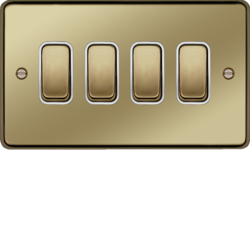 WRPS42PBW 10AX 4 Gang 2 Way Wall Switch Polished Brass White Insert