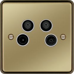 WRQXPBW Quadplexer TV,  FM/DAB,  Satellite 1 & Satellite 2 Outlet Polished Brass White Ins