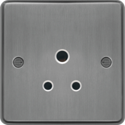 WRS51BSW 5A 1 Gang Unswitched Socket Brushed Steel White Insert