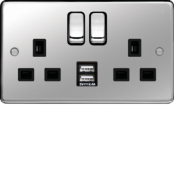 WRSS82PSB-USBS 13A 2 Gang Double Pole Switched Socket c/w Twin USB Ports Polished Steel Black