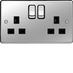 WRSS82PSB 13A 2 Gang Double Pole Switched Socket Polished Steel Black Insert