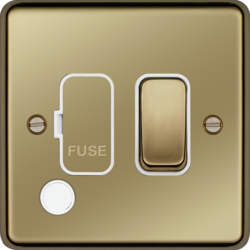 WRSSU83FOPBW 13A  FCU Switched with Flex Outlet Polished Brass White Insert