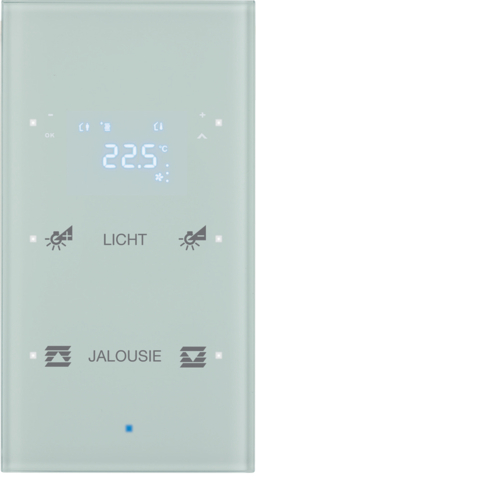 75642130 KNX glass sensor 2g thermostat,  display,  intg bus coupl. , KNX-TS sensor,  p.wh.