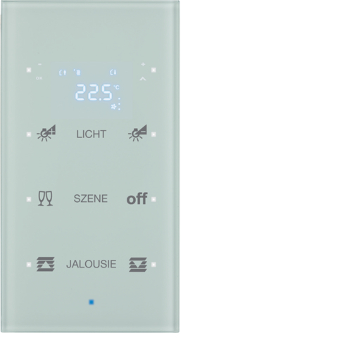 75643130 KNX glass sensor 3g thermostat,  display,  intg bus coupl. , KNX-TS sensor,  p.wh.