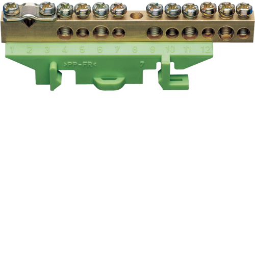 KM11B Brass terminal,  1x25mm² 5x10mm² 5x16mm², with mounting base,  Color: green