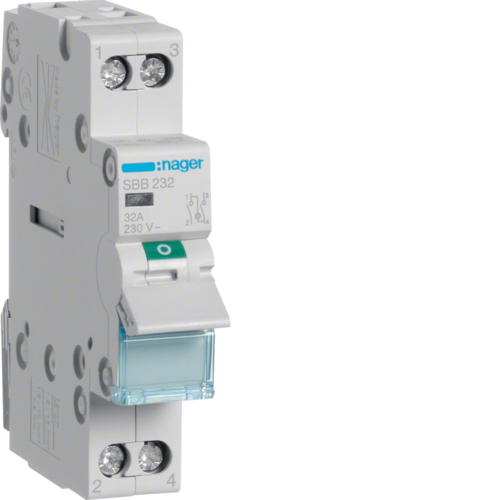 SBB232 2-pole,  32A Modular Switch with Indicator Light