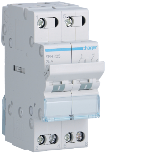 SFH225 2-pole,  25A Modular Changeover Switch with Top Common Point