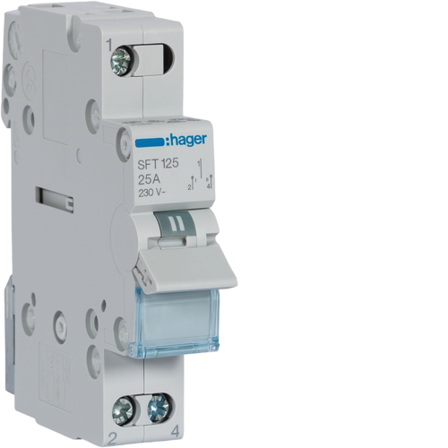 SFT125 1-pole,  25A Centre Off Modular Changeover Switch with Top Common Point