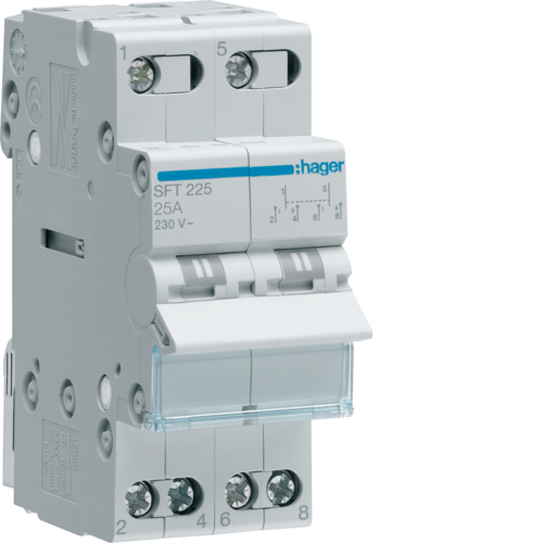 SFT225 2-pole,  25A Centre Off Modular Changeover Switch with Top Common Point