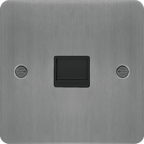 WFBTSBSB Secondary Telephone Socket Brushed Steel Black Insert