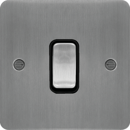 WFDP84BSB 20A Double Pole Switch Brushed Steel Black Insert