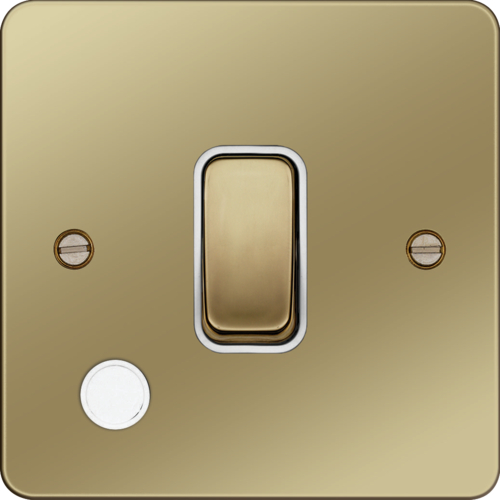 WFDP84FOPBW 20A Double Pole Switch with Flex Outlet Polished Brass White Insert