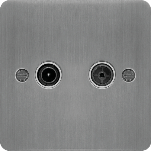 WFDXBSW TV & FM/DAB Outlet Brushed Steel White Insert