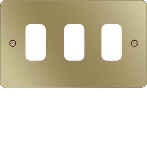 WFGP3PB Grid Front Plate 1 X 3 Polished Brass
