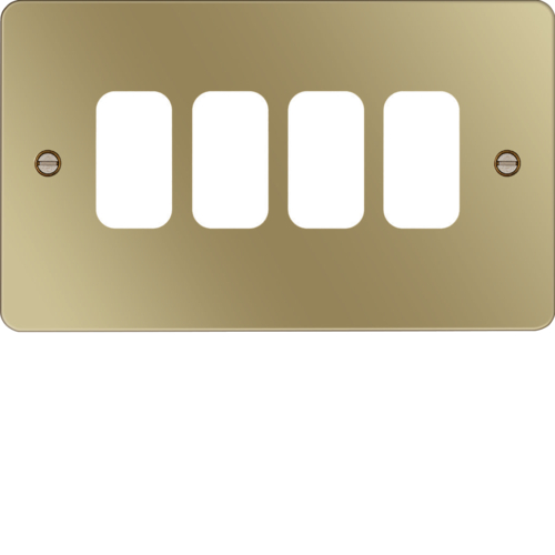 WFGP4PB Grid Front Plate 1 X 4 Polished Brass