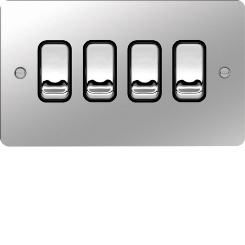 WFPS42PSB 10AX 4 Gang 2 Way Wall Switch Polished Steel Black Insert