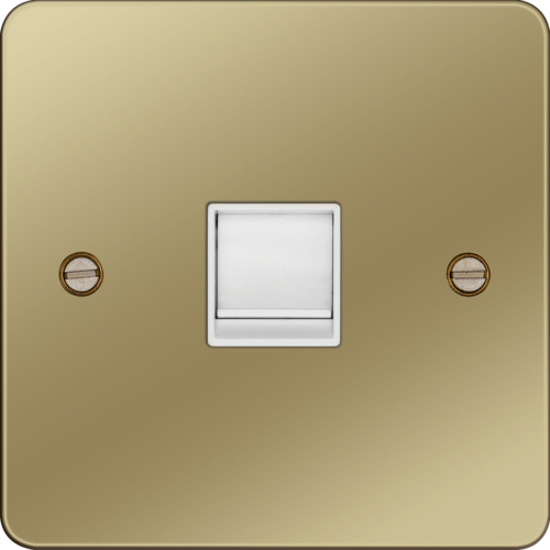 WFRJ45PBW RJ45 Socket Polished Brass White Insert